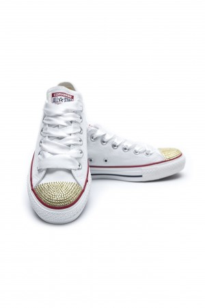 Converse Crystal Low White with gold crystals