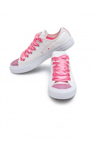 Converse Swarovski White I Low with rose crystals