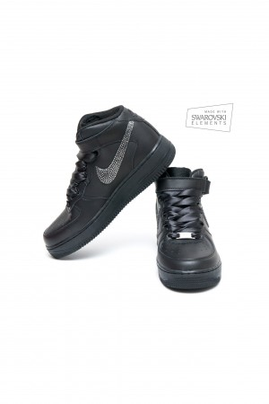 Nike Air Force 1 Swarovski Black trainers with Silver Night crystals
