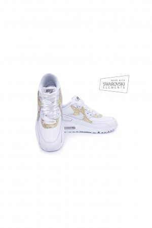 Nike Air Max 90 Swarovski trainers with Gold crystals