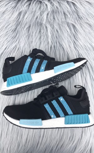 Women's Black and blue Adidas NMD R1 with Swarovski Crystals LIMITED EDITION