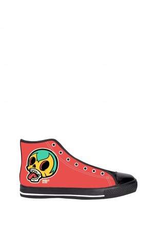 Skelly Head Red Black Sole High Tops