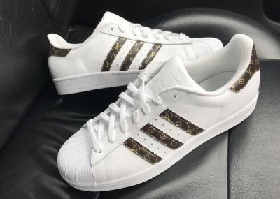 Custom 18ct Gold/Brown Louis Vuitton Adidas Superstar Sneakers