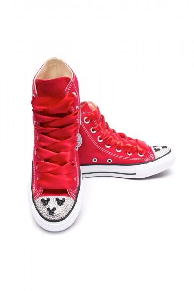 Converse Crystal Red Mickey Mouse High Top