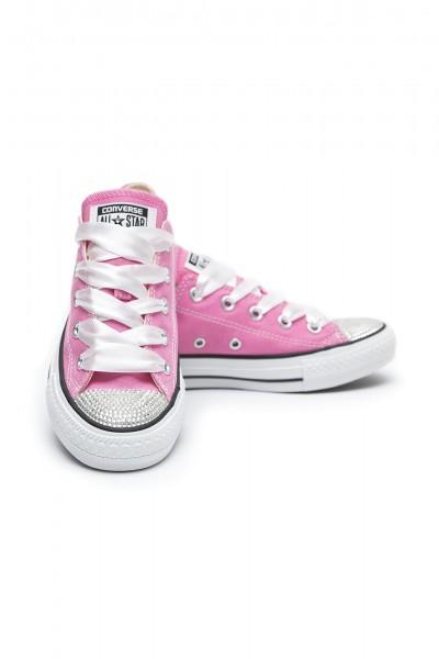 Converse Swarovski Pink Low with Swarovski Silver Crystals