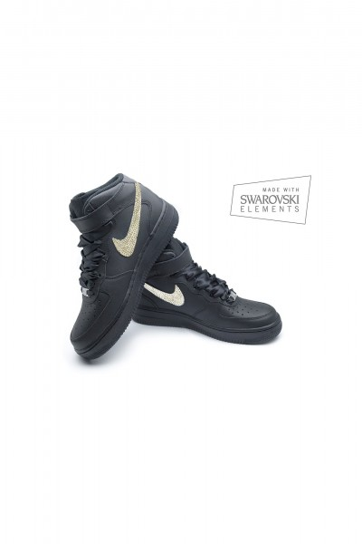 Nike Air Force 1 Swarovski Black trainers with Gold crystals