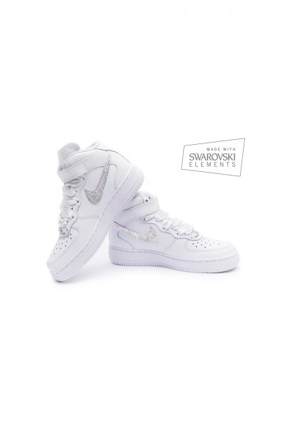 Nike Air Force 1 Swarovski White trainers with AB crystals