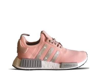 Women's Pink Adidas NMD R1 with Silver Swarovski Crystals