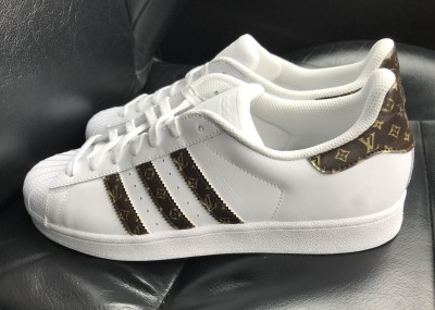 1d022b46ff6 Custom black and gold Louis Vuitton Adidas Superstar Sneakers