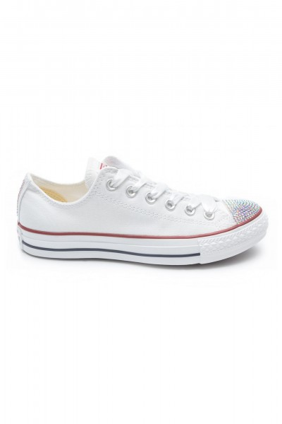 Converse Crystal Low White with ab crystals