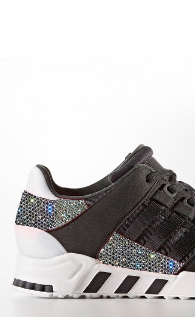 Women's Black Adidas EQT support rf with Swarovski Crystals LIMITED EDITION