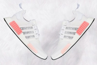 Women's White and Icy pink Adidas NMD R1 with Swarovski Crystals LIMITED EDITION