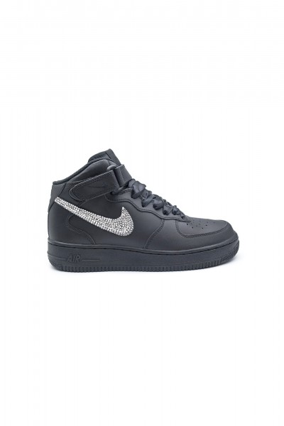 Nike Air Force 1 Swarovski Black trainers with Silver crystals