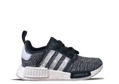 Women's Grey Marble Adidas NMD R1 with Silver Swarovski Crystals
