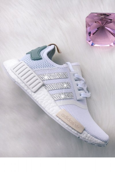 Women's Light blue Adidas NMD R1 with Silver Swarovski Crystals