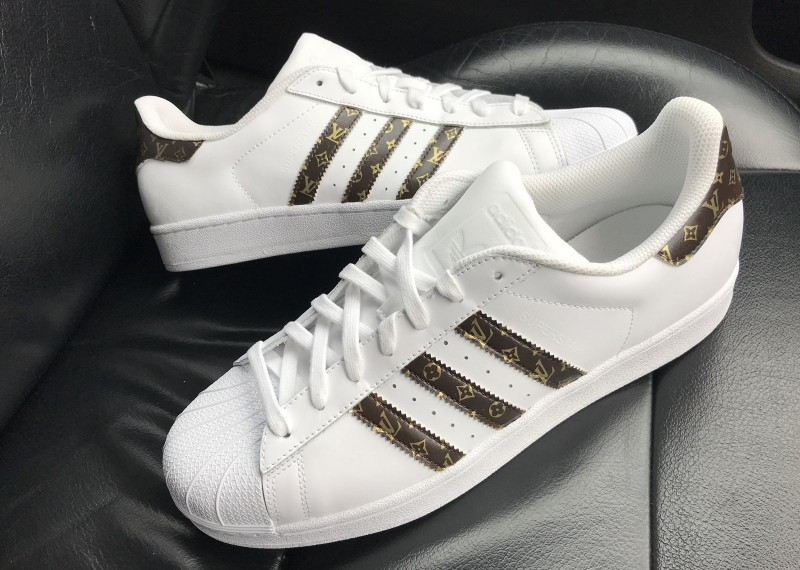 841f7f35f96 Custom 18ct Gold/Brown Louis Vuitton Adidas Superstar Sneakers