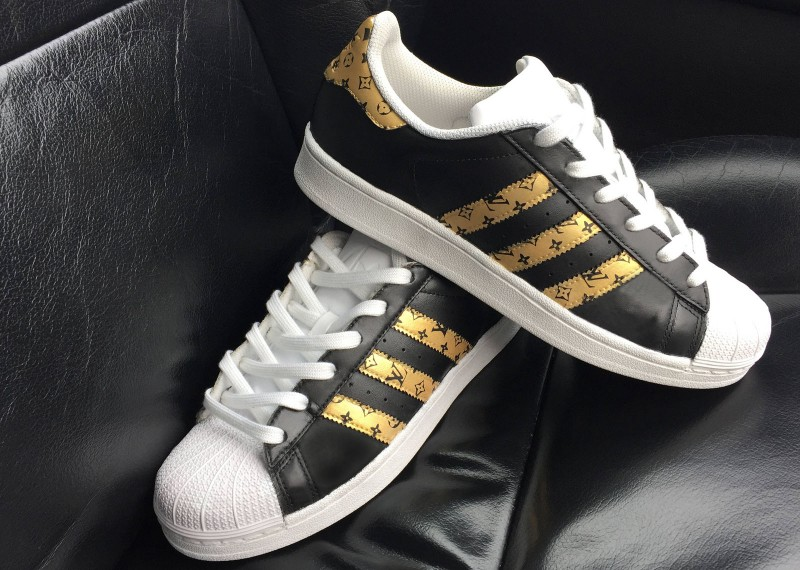 Custom black and gold Louis Vuitton Adidas