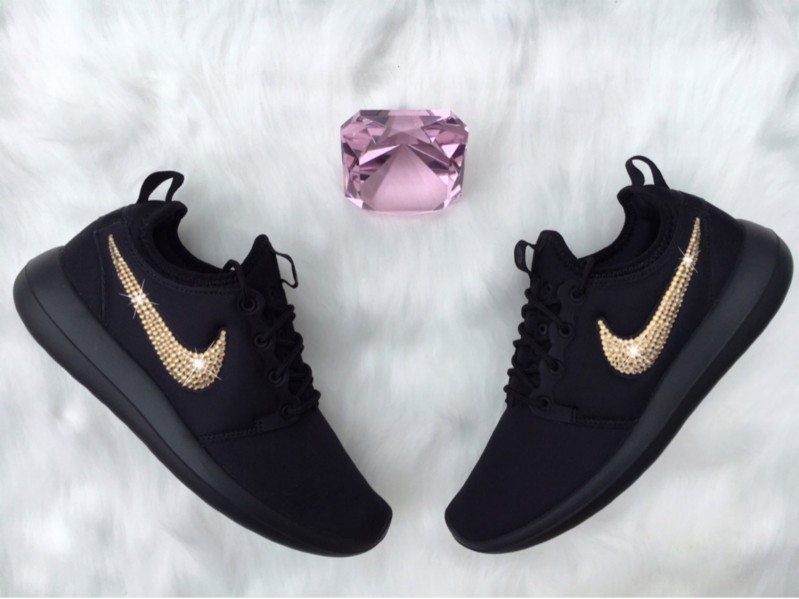 Bling Nike Roshe Two Shoes Customized With GOLD Swarovski Crystals ... ce7d6d33c