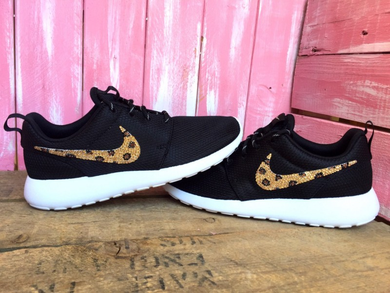 sports shoes c45a0 6f888 Blinged Leopard Swarovski Nike Roshe Run Customized With Swarovski Crystals  ...