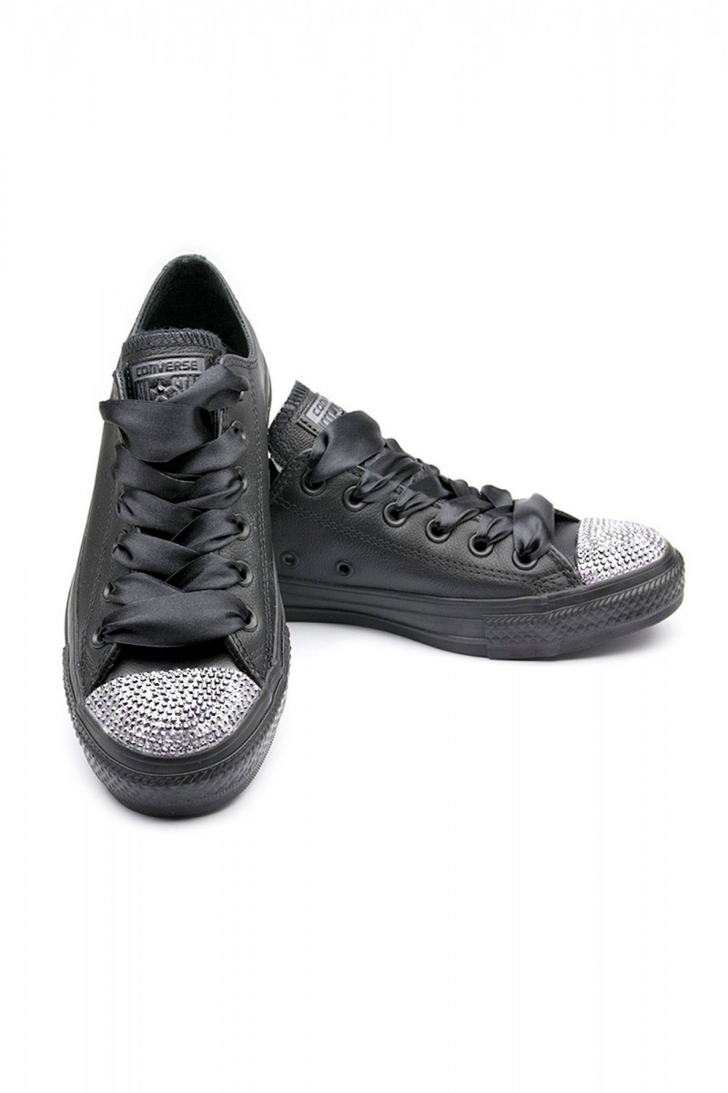 f95152622539a4 Converse Crystal Leather Low with Silver Crystals - UFab London