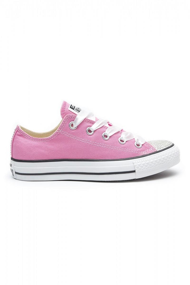 76f419295b20b9 Converse Swarovski Pink Low with Swarovski Silver Crystals