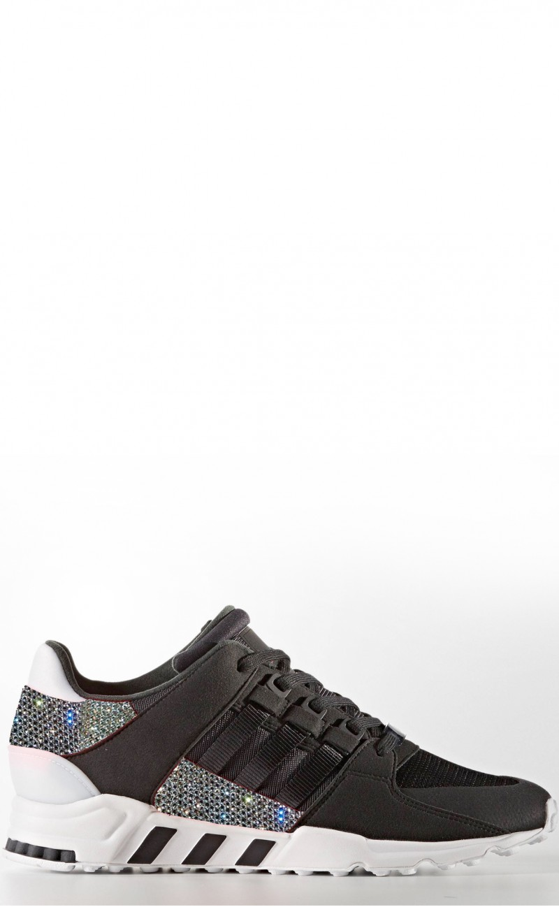 online retailer 9e870 e6eb4 Women's Black Adidas EQT support rf with Swarovski Crystals LIMITED EDITION