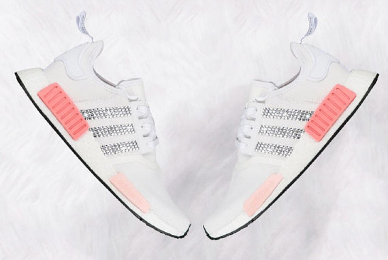 d2c56fc3e Women s White and Icy pink Adidas NMD R1 with Swarovski Crystals LIMITED  EDITION ...