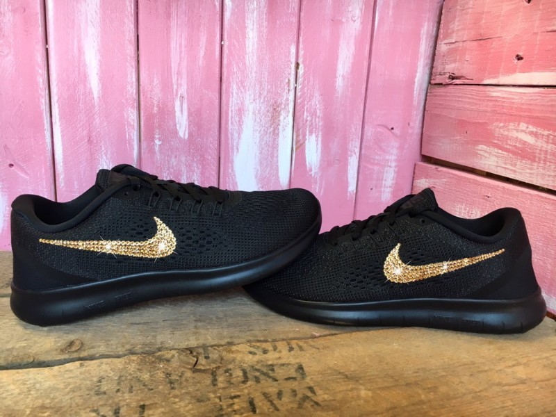 fbdd16b3400e Nike Free RN Shoes Customized With GOLD Swarovski Crystals - UFab London