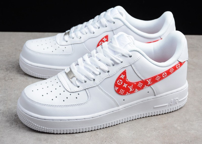 Custom Luis Vuitton Nike Air Force 1 Red - DLV Custom Trainers 309244798