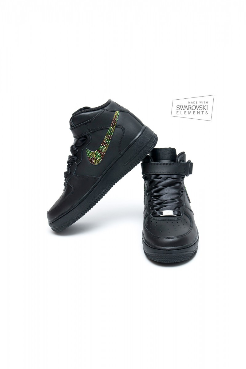 282688f89393 Nike Air Force 1 Swarovski Black Army
