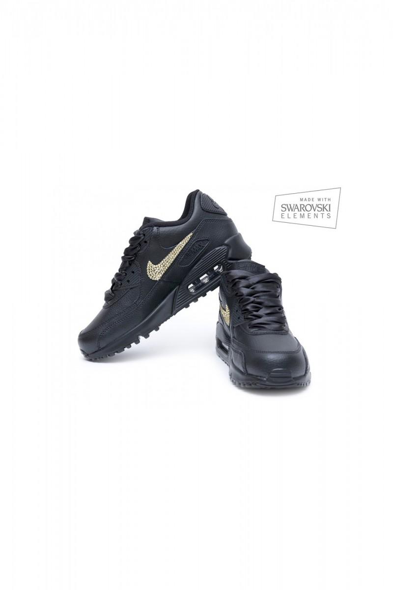 Nike Air Max 90 Swarovski Black with Gold crystals 3f4ed8b0cd