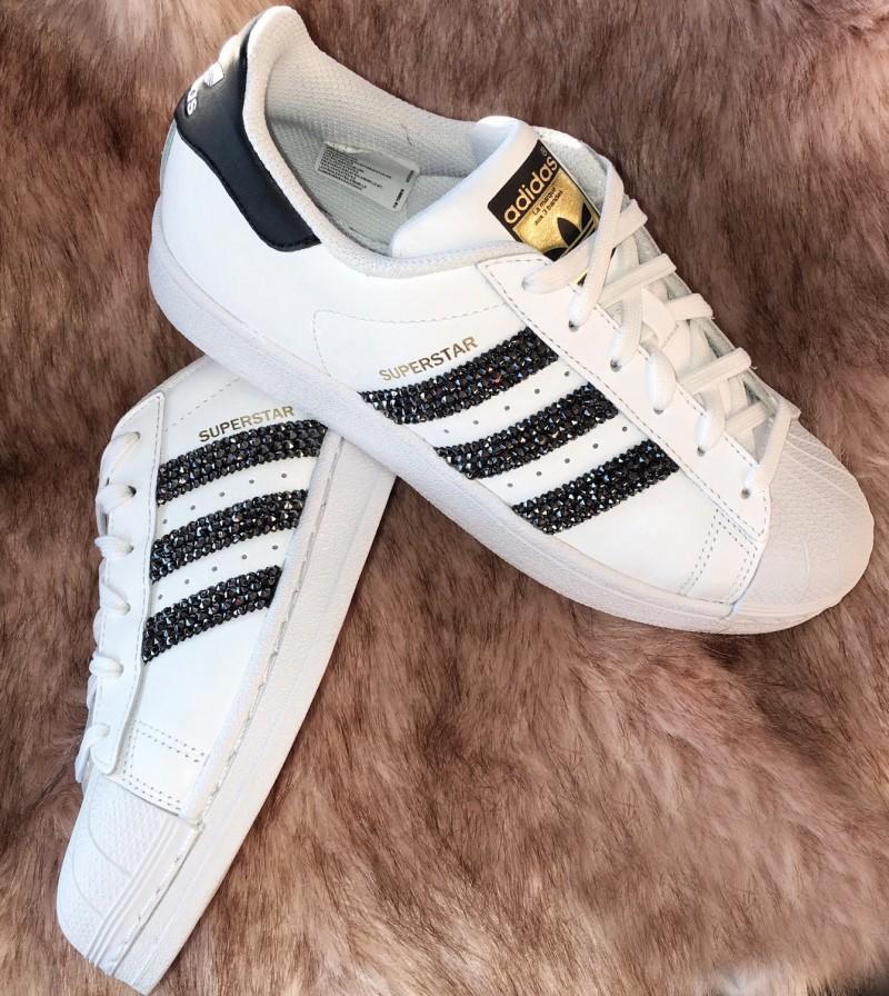 sports shoes e542f 401eb ... Rita Ora Signature Adidas Superstar with Black Swarovski Crystals ...